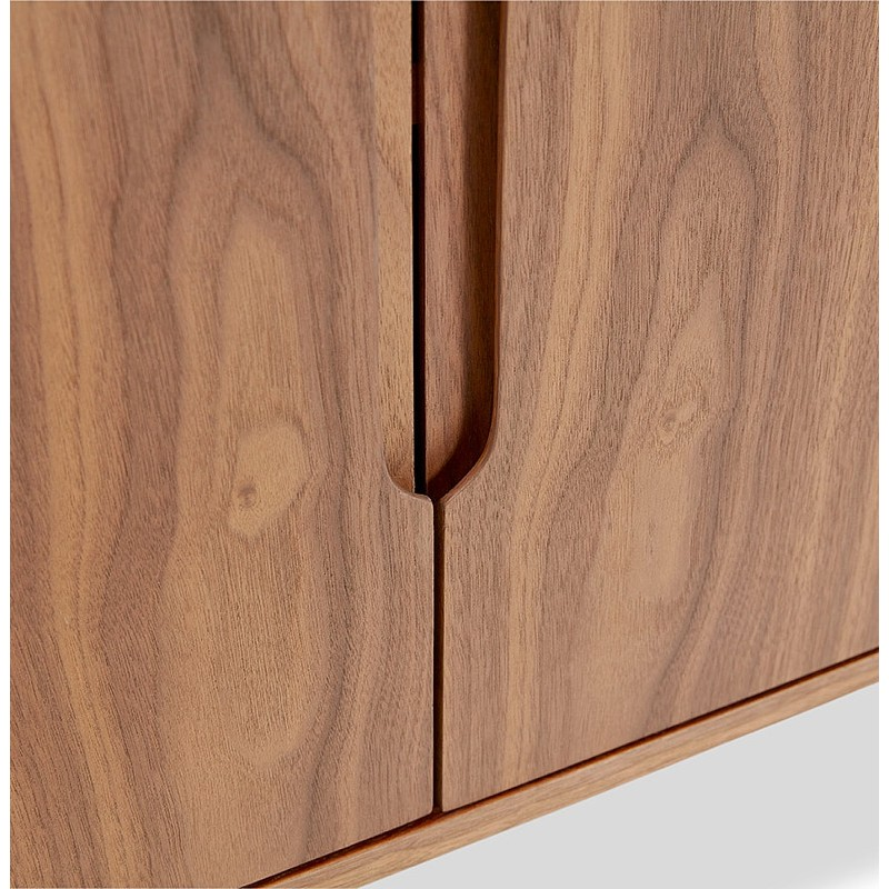 Buffet enfilade design et rétro 2 portes 3 tiroirs MELINA en bois (noyer) - image 40003
