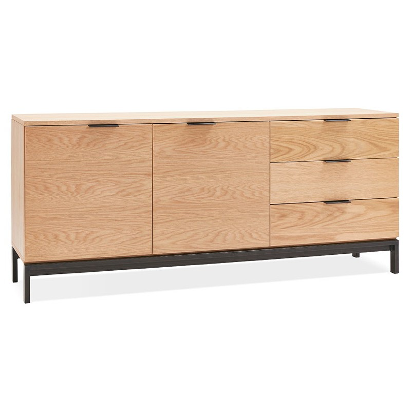 Buffet design row 2 doors 3 drawers AGATHE in wood (oak, natural) - image 40012