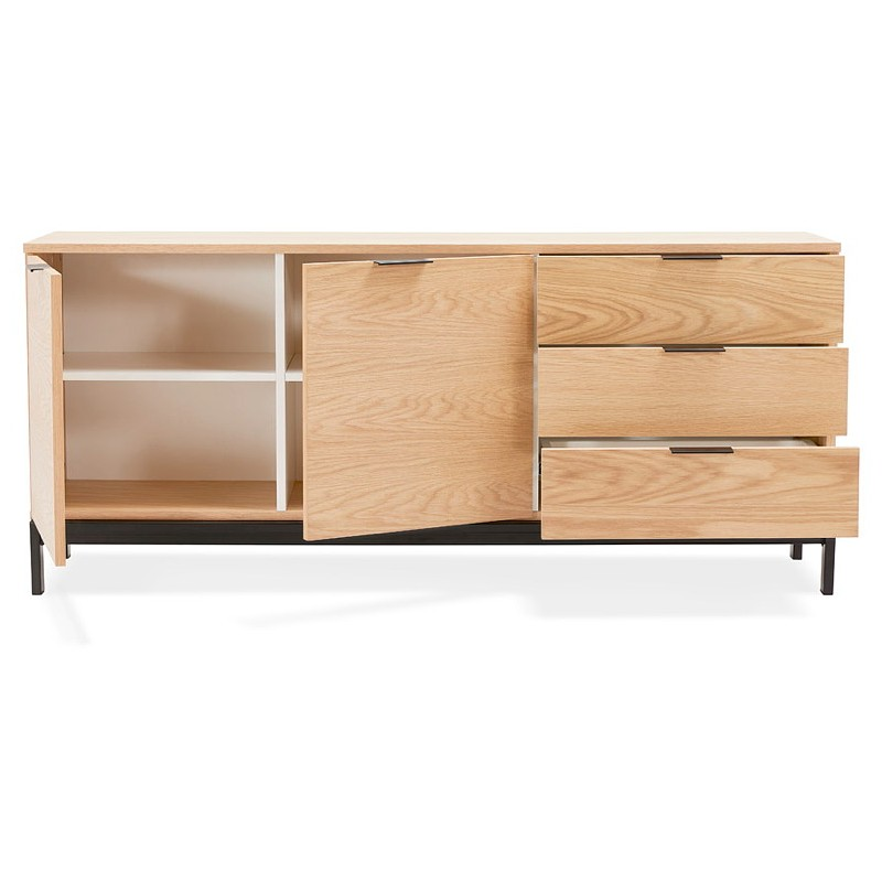 Buffet design row 2 doors 3 drawers AGATHE in wood (oak, natural) - image 40015