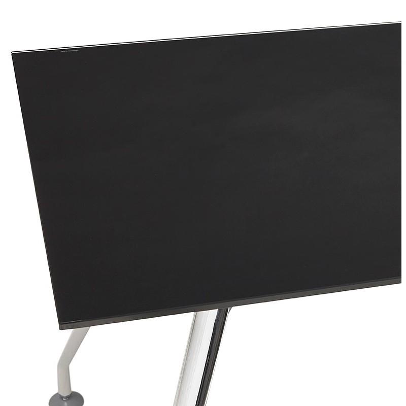 Bureau table de réunion moderne (80x160 cm) AMELIE en verre (noir) - image 40030