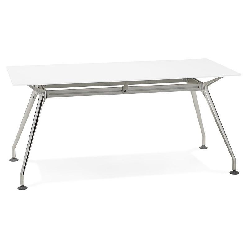 Riunione di scrivania tavolo moderno (80 x 160 cm) AMÉLIE in vetro (bianco)