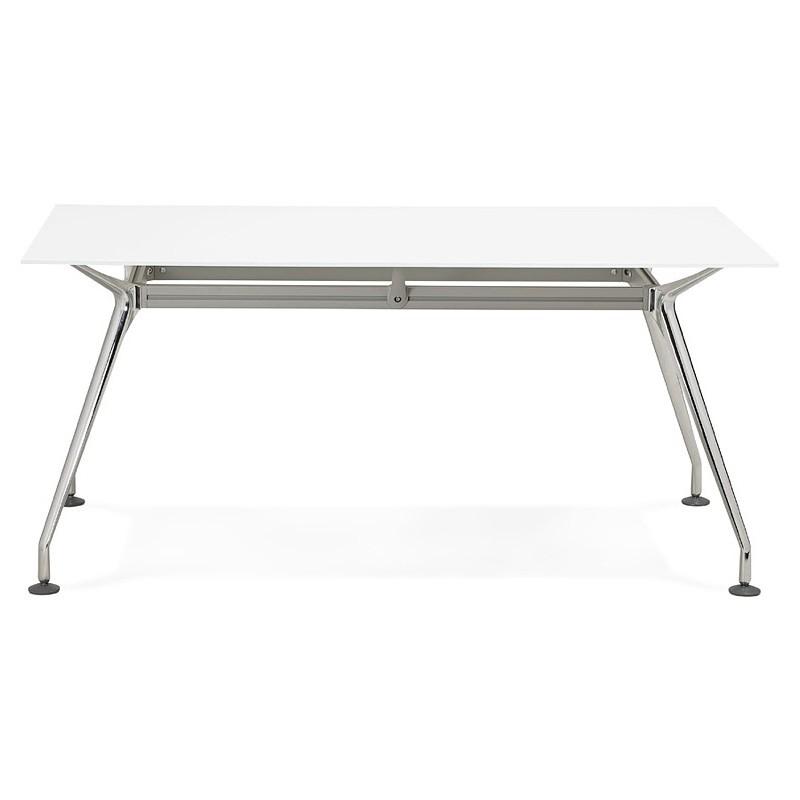 Riunione di scrivania tavolo moderno (80 x 160 cm) AMÉLIE in vetro (bianco) - image 40047