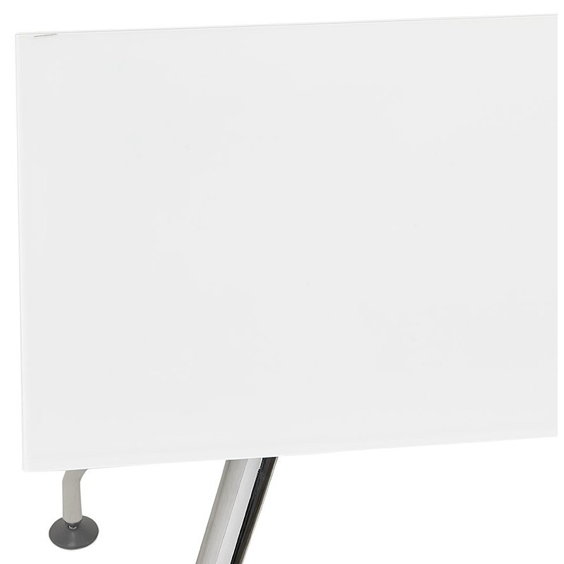 Riunione di scrivania tavolo moderno (80 x 160 cm) AMÉLIE in vetro (bianco) - image 40049