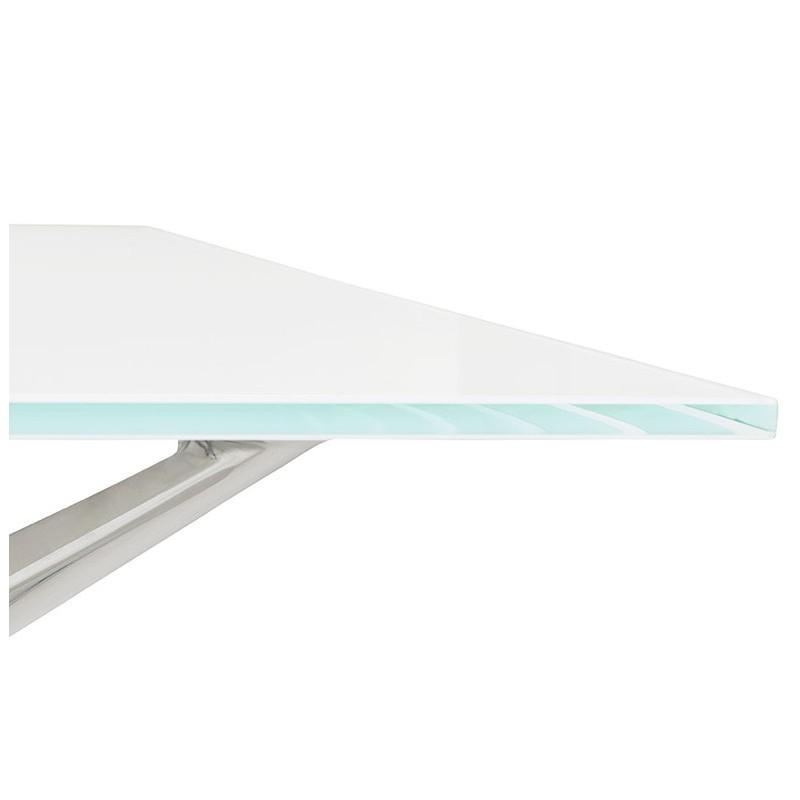 Riunione di scrivania tavolo moderno (80 x 160 cm) AMÉLIE in vetro (bianco) - image 40050