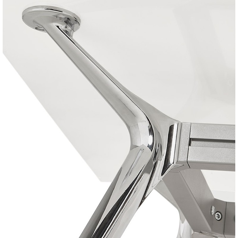 Riunione di scrivania tavolo moderno (80 x 160 cm) AMÉLIE in vetro (bianco) - image 40051