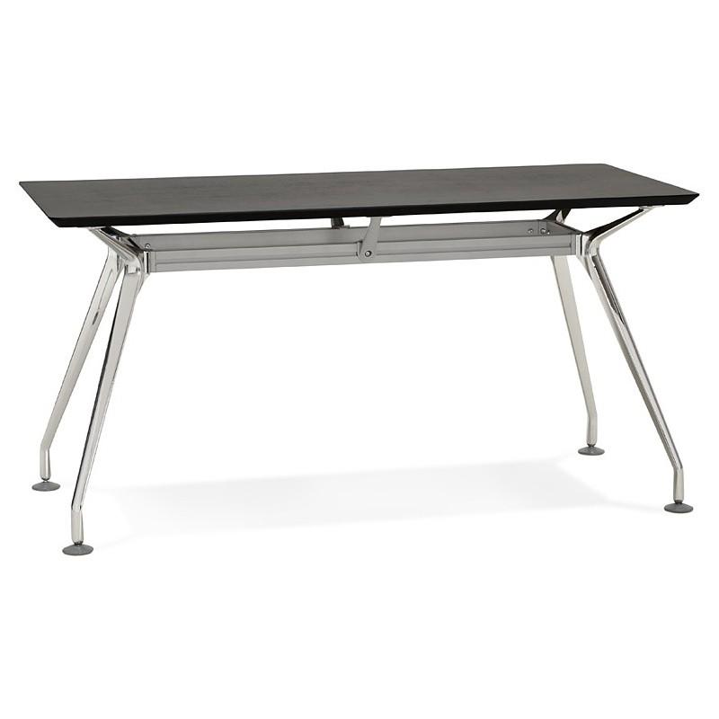 Bureau table de réunion moderne (70x150 cm) NOEMIE en bois plaqué frêne (noir) - image 40064