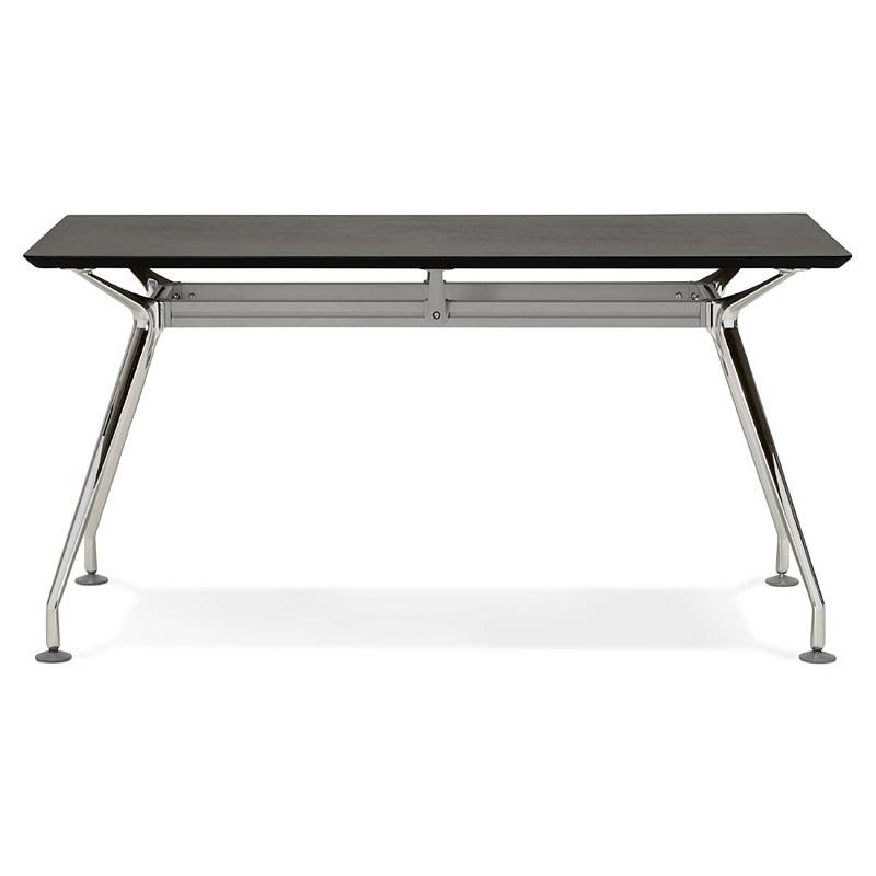 Bureau table de réunion moderne (70x150 cm) NOEMIE en bois plaqué frêne (noir) - image 40065
