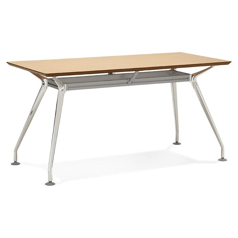 Bureau table de réunion moderne (70x150 cm) NOEMIE en bois plaqué chêne (naturel) - image 40079