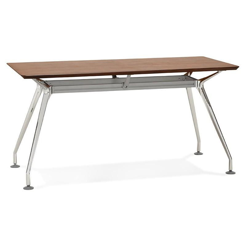 Bureau table de réunion moderne (70x150 cm) NOEMIE en bois plaqué noyer (noyer) - image 40087