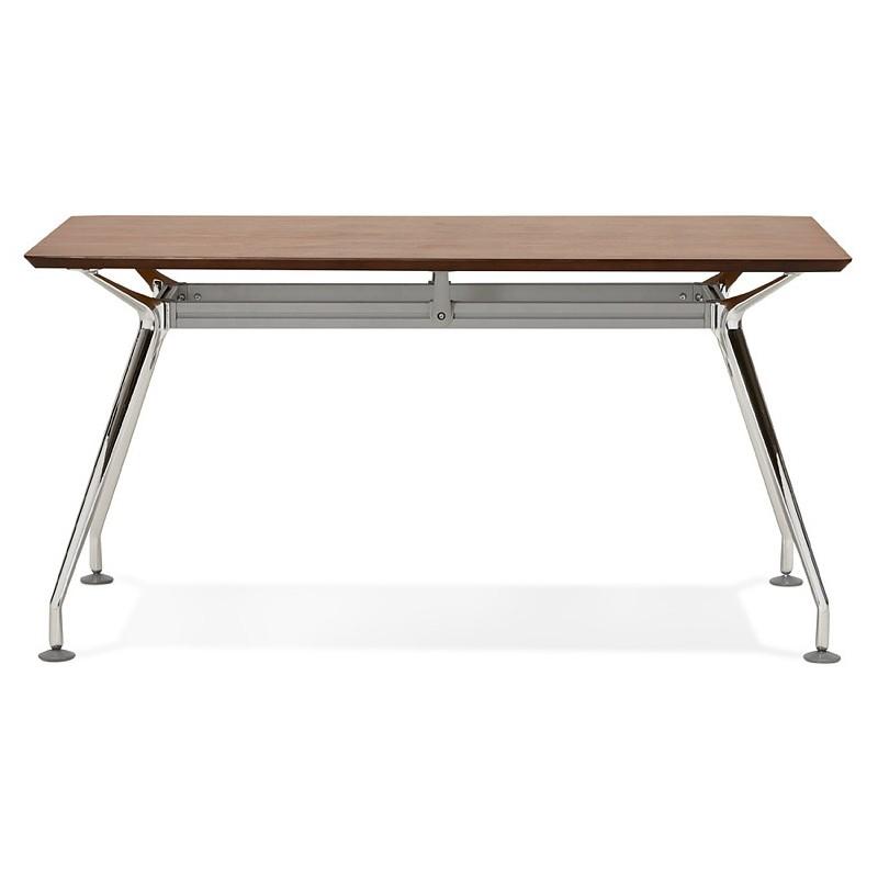 Bureau table de réunion moderne (70x150 cm) NOEMIE en bois plaqué noyer (noyer) - image 40088