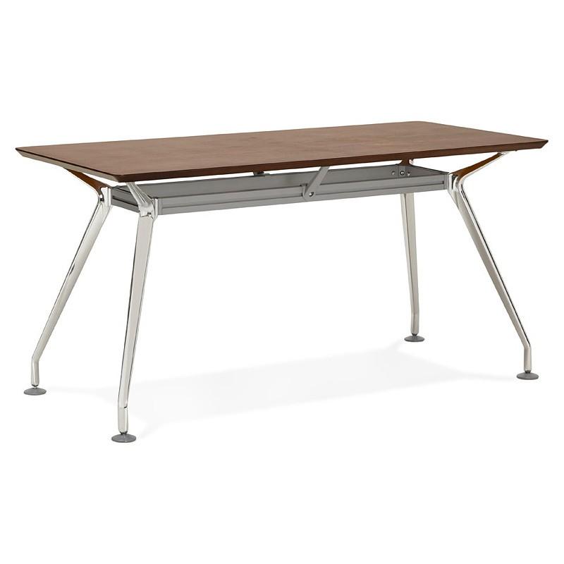 Bureau table de réunion moderne (70x150 cm) NOEMIE en bois plaqué noyer (noyer) - image 40090