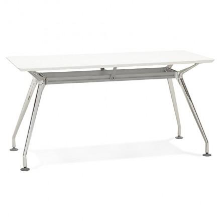 Bureau table de réunion moderne (70x150 cm) NOEMIE en bois (blanc mat)