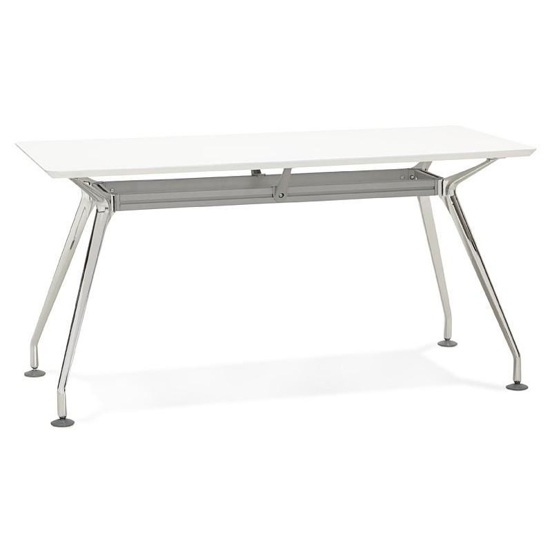 Bureau table de réunion moderne (70x150 cm) NOEMIE en bois (blanc mat) - image 40098