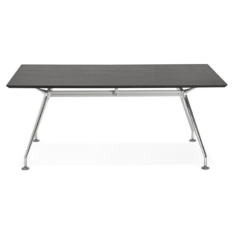 Bureau table de réunion moderne (90x180 cm) LAMA en bois plaqué frêne (noir) - image 40109