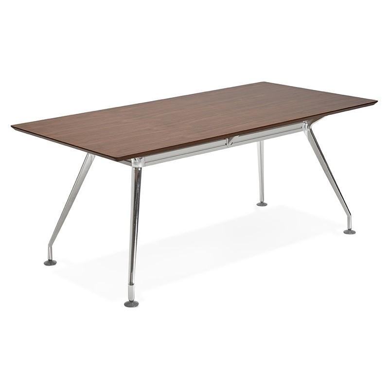 Bureau table de réunion moderne (90x180 cm) LAMA en bois plaqué noyer (noyer) - image 40126
