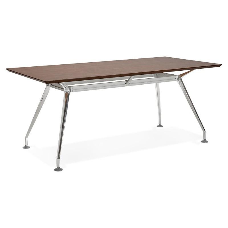 Bureau table de réunion moderne (90x180 cm) LAMA en bois plaqué noyer (noyer) - image 40130