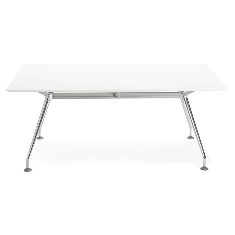 Bureau table de réunion moderne (90x180 cm) LAMA en bois (blanc mat) - image 40139