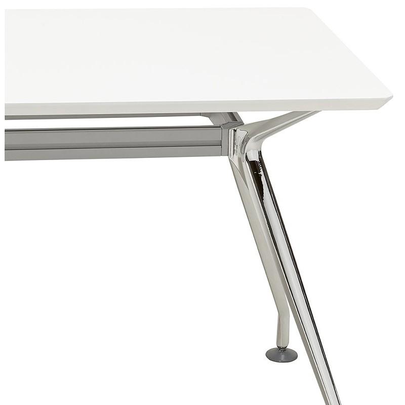 Bureau table de réunion moderne (90x180 cm) LAMA en bois (blanc mat) - image 40146