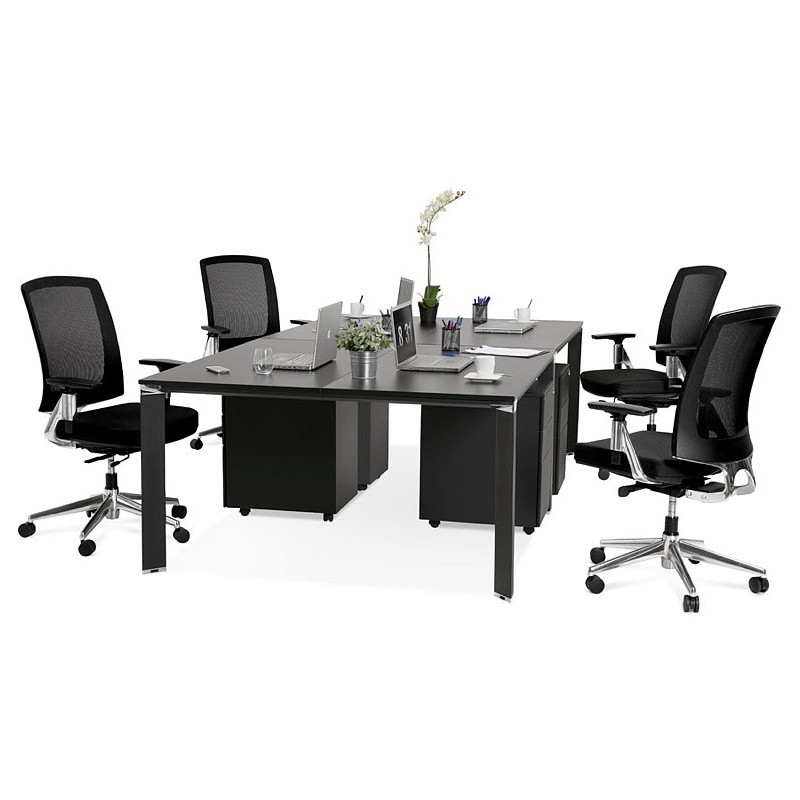 Bureau table de réunion moderne (140x140 cm) RICARDO en bois (noir) - image 40213