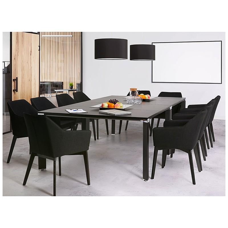 Bureau table de réunion moderne (140x140 cm) RICARDO en bois (noir) - image 40215