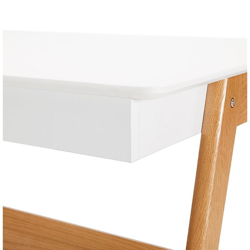 Bureau droit scandinave ELOISE en bois (blanc mat) - image 40225