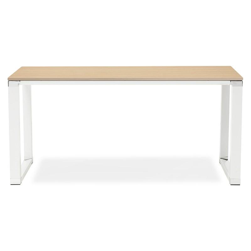 Bureau droit design BOUNY en bois pieds blanc (naturel) - image 40232