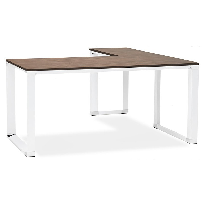 Bureau d'angle design CORPORATE en bois pieds blanc (finition noyer)