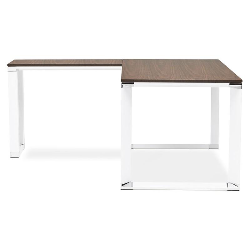 Bureau d'angle design CORPORATE en bois pieds blanc (finition noyer) - image 40262