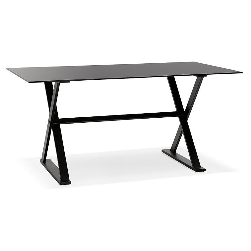Table à manger design ou bureau (160x80 cm) WENDY en verre (noir) - image 40279