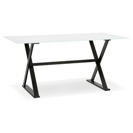 Table design or (160 x 80 cm) WENDY glass desk (white)