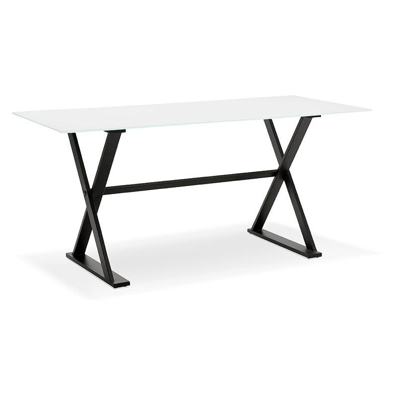 Table à manger design ou bureau (160x80 cm) WENDY en verre (blanc) - image 40290