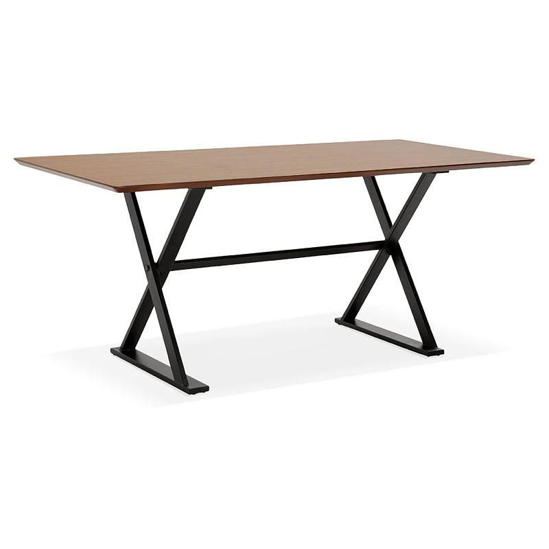 Table à manger design ou bureau (180x90 cm) FOSTINE en bois (finition noyer)