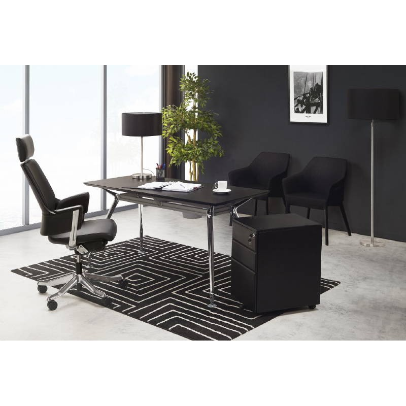 fauteuil de bureau design ergonomique cuba en cuir noir. Black Bedroom Furniture Sets. Home Design Ideas
