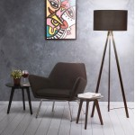 Scandinavian style TRANI (black) fabric floor lamp