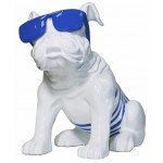 Statuette design decorative sculpture dog sitting in resin (white, blue)