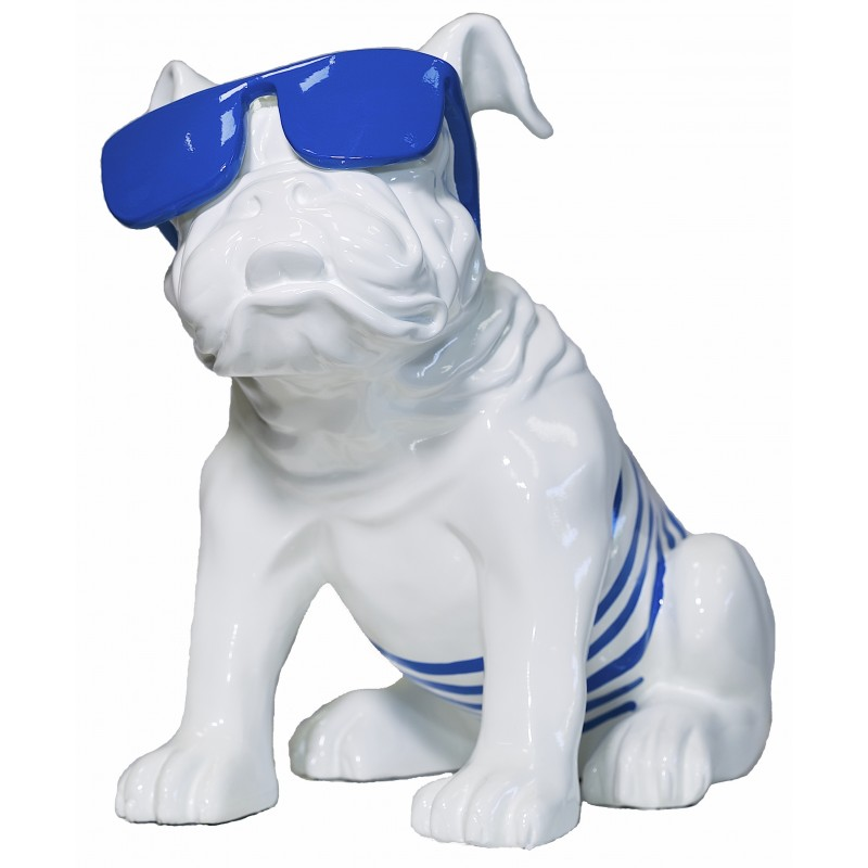 Statuette design decorative sculpture dog sitting in resin (white, blue) - image 40924