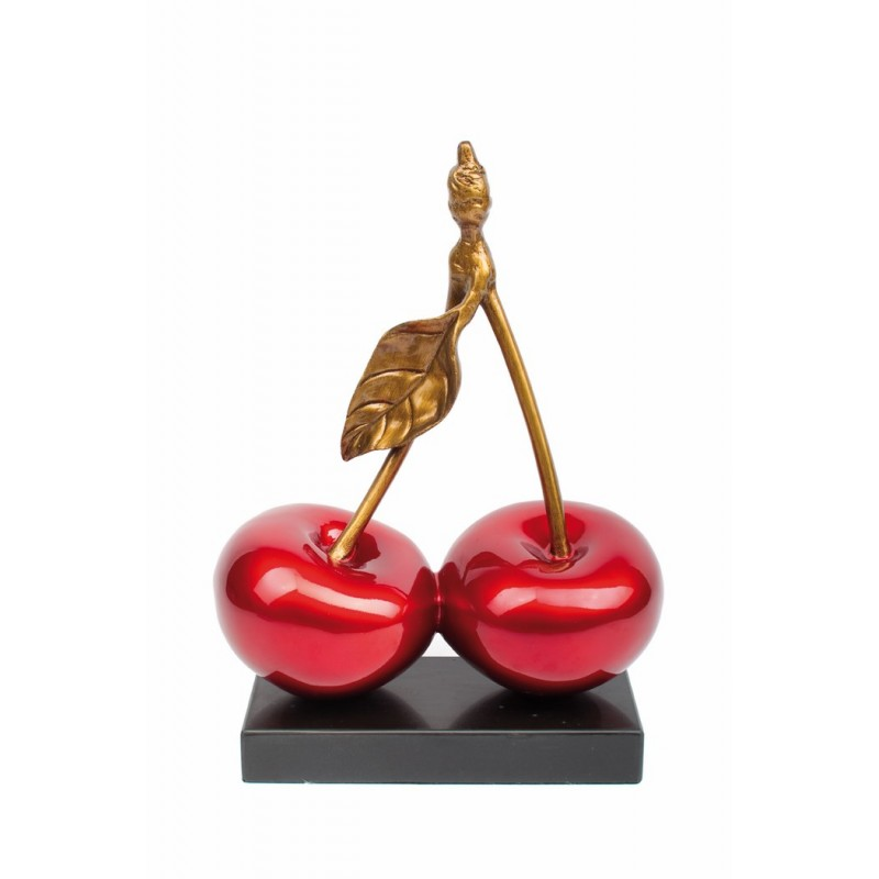 Statue sculpture décorative design CERISE DOUBLE en résine H46 cm (rouge) - image 40932