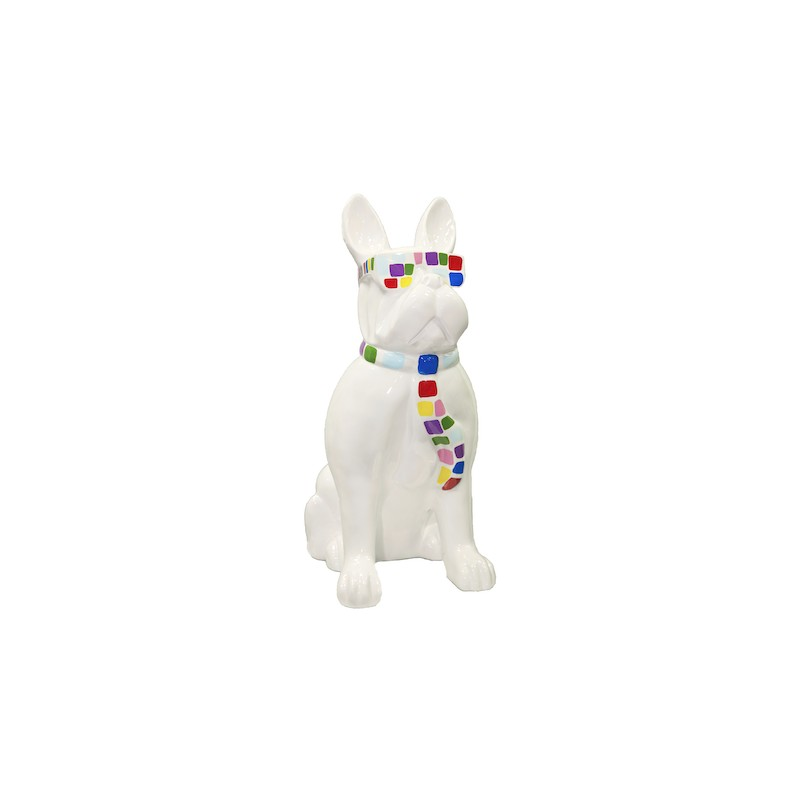 Statue sculpture décorative design CHIEN A CRAVATE COLOREE en résine H98 cm (blanc) - image 40936