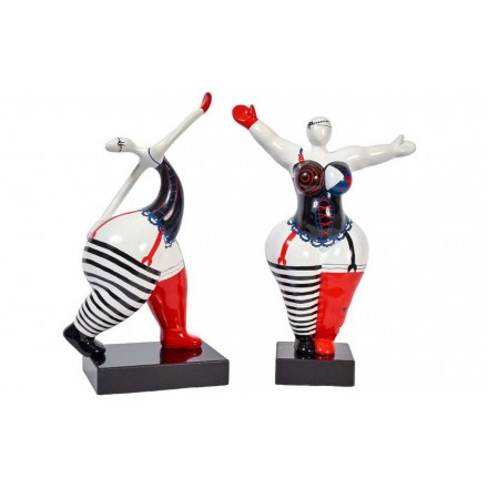 Set of 2 statues design decorative sculptures torque curves in resin H54 / 58cm (multicolor)