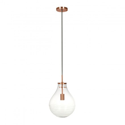 Lampe suspendue industriel small H 38 cm Ø 29 cm MASSY (Transparent, cuivre)