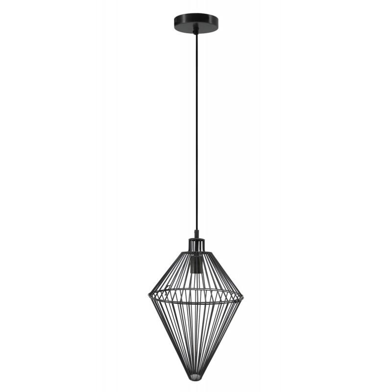 Lampe à suspension industriel H 52 cm Ø 32 cm SACHA (noir)