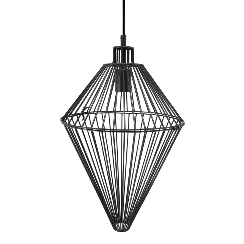 Lampe à suspension industriel H 52 cm Ø 32 cm SACHA (noir) - image 41005
