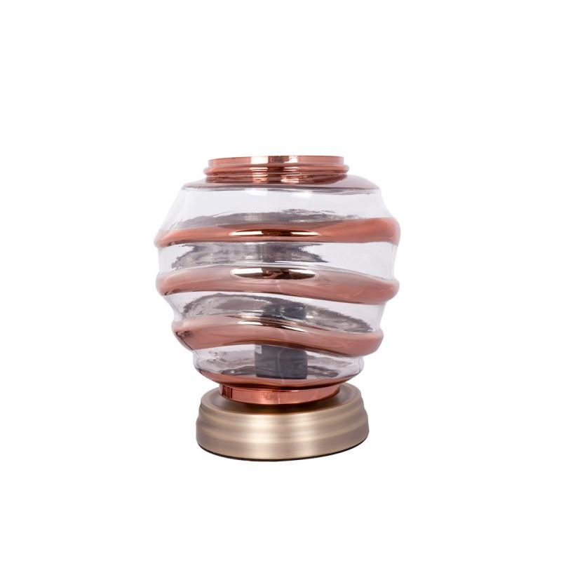 Moderne H 22 cm Ø 20 cm ALADDIN Tischlampe Glas (Transparent / Kupfer)