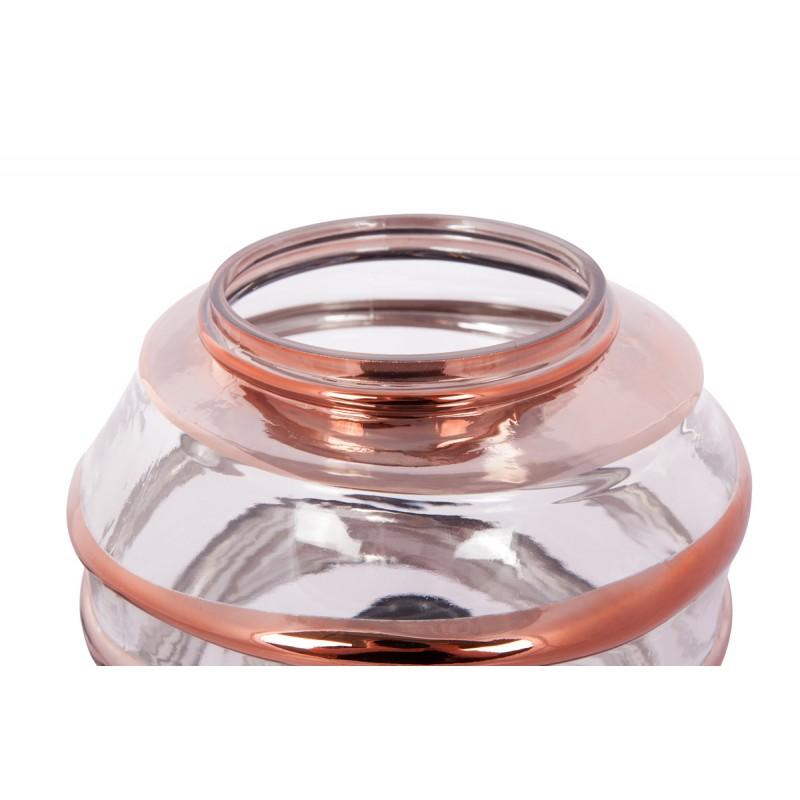 Moderne H 22 cm Ø 20 cm ALADDIN Tischlampe Glas (Transparent / Kupfer) - image 41049