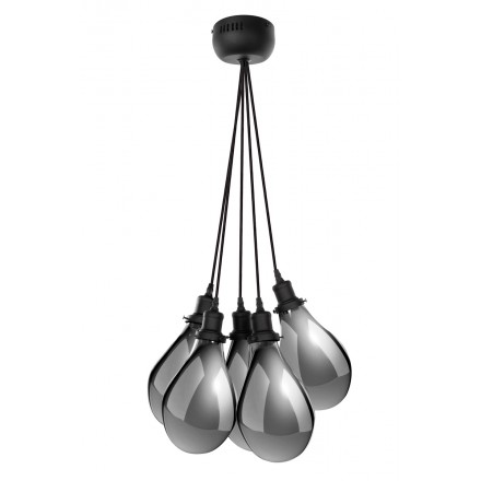 Lampe à suspension industriel 5 globes en verre H 35 cm Ø 45 cm ANGEL (gris)