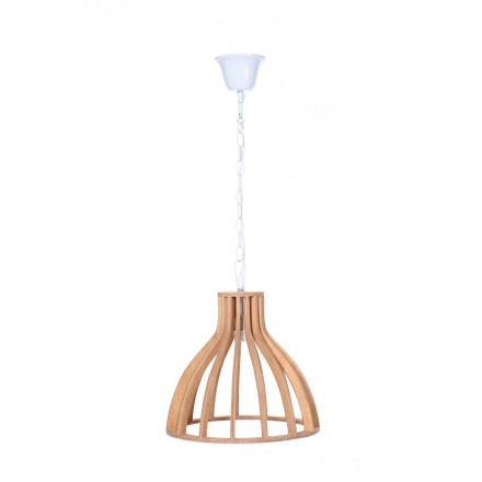 Lampe à suspension scandinave en bois H 38 cm Ø 34 cm TIYA (naturel)