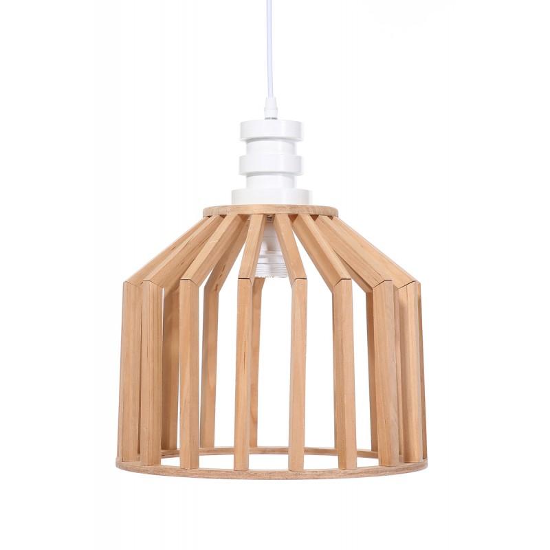 Lampe à suspension scandinave en bois H 39 cm Ø 33 cm TIYA (naturel) - image 41130