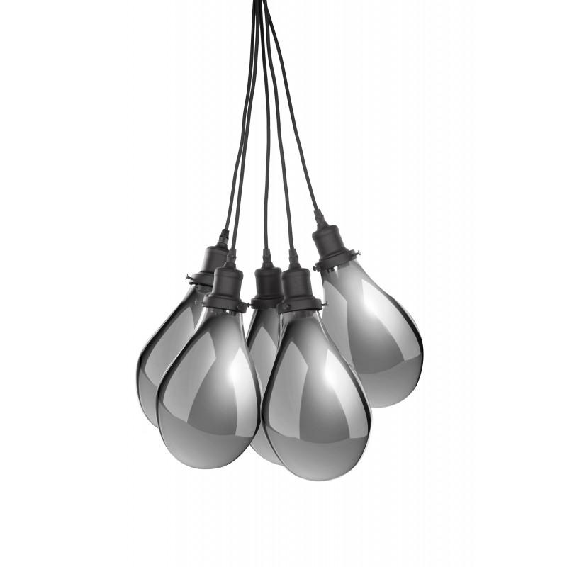 Lampe à suspension industriel 5 globes en verre H 35 cm Ø 45 cm ANGEL (gris) - image 41199