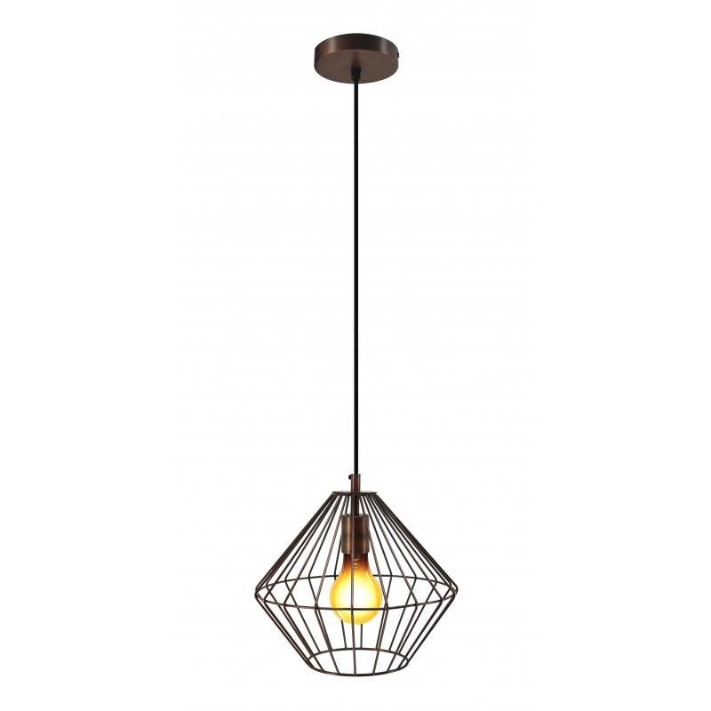 Lampe à suspension industriel H 37 cm Ø 29 cm YOURRY (cuivre) - image 41204