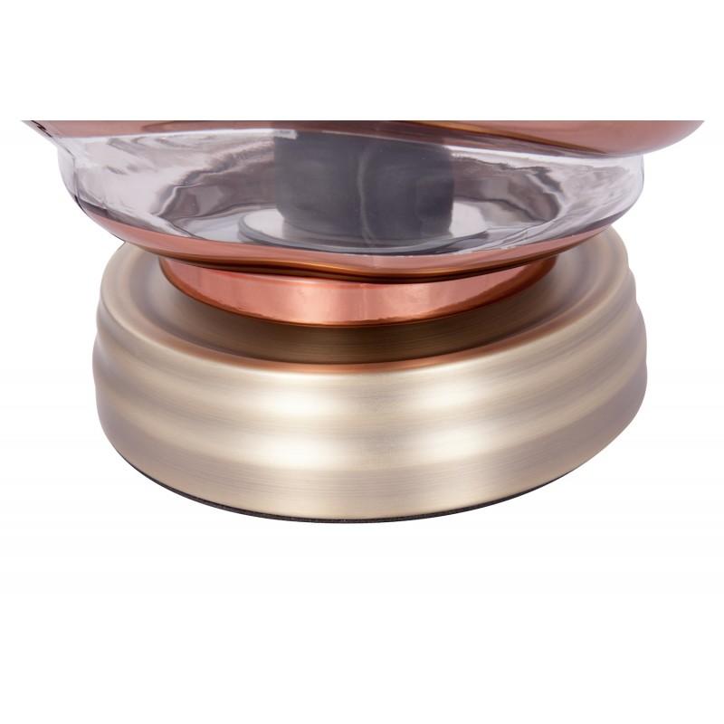 Moderne H 22 cm Ø 20 cm ALADDIN Tischlampe Glas (Transparent / Kupfer) - image 41241
